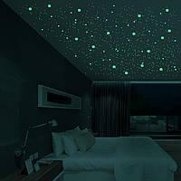 Люминесцентные наклейки звезды (202-шт) светящиеся в темноте, наклейки звездное небо на потолок КРУГЛЫЕ.