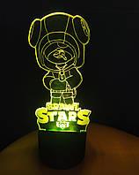3d-светильник Leon, Леон с чупиком, Бравел Старс, 3д-ночник, несколько подсветок (батарейка+220В)