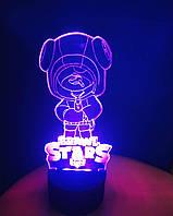 3d-светильник Leon, Леон с чупиком, Бравел Старс, 3д-ночник, несколько подсветок (на пульте)