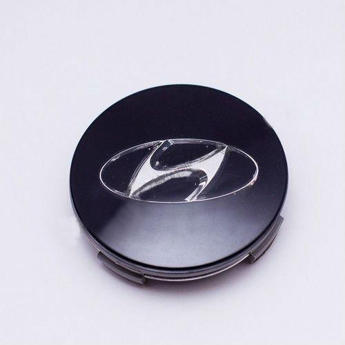 Ковпачок для диска Hyundai чорний / хром лого 52960-26400 (63 мм)