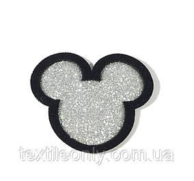 Нашивка Микки / Mickey блестки 48х42 мм