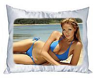 Атласная подушка прямоугольная с Вашим фото