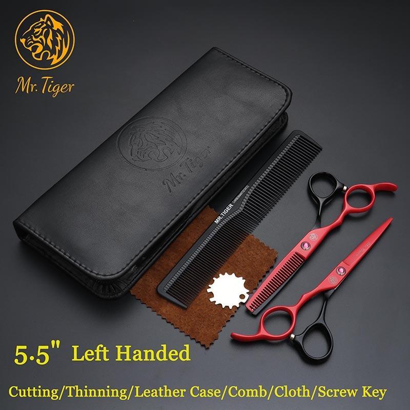 Mr Tiger 5,5 лівосторонні перукарські ножиці для стрижки комплект чорний з червоним з камінчиком Japan 440c