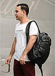 Стильный мужской черный рюкзак классика городской, повседневный матовая эко-кожа - качественный кожзам, фото 2