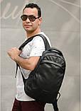 Стильный мужской черный рюкзак классика городской, повседневный матовая эко-кожа - качественный кожзам, фото 4