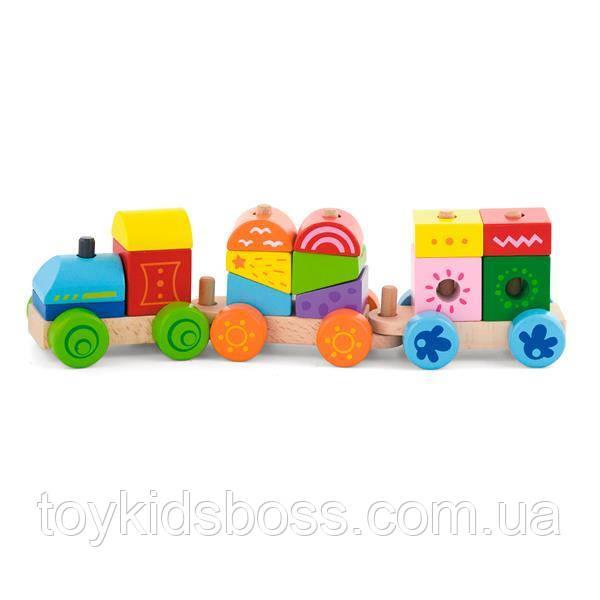 Деревянный поезд Viga Toys Яркие кубики (50534)