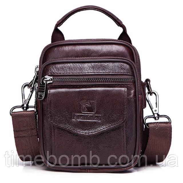 Мужская кожаная сумка барсетка Fuzhiniao 3 в 1 кофейная 097