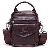 Мужская кожаная сумка барсетка Fuzhiniao 3 в 1 кофейная 097, фото 1