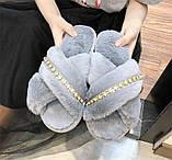 Тапочки домашні жіночі кімнатні. Теплі хутряні капці зі стразами (сірі), фото 2