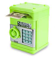 """Детский сейф с кодом, паролем, для денег, игрушечный """"Зеленый"""" копилка детская музыкальная"""