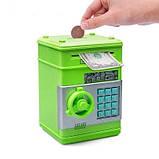 """Детский сейф с кодом, паролем,  для денег, игрушечный """"Зеленый"""" копилка детская музыкальная, фото 5"""