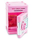 Игрушечный сейф детский Розовая с серым, кнопки Бирюза копилка детская с кодовым замком и звуковыми эффектами, фото 3