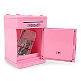 Игрушечный сейф детский Розовая с серым, кнопки Бирюза копилка детская с кодовым замком и звуковыми эффектами, фото 4