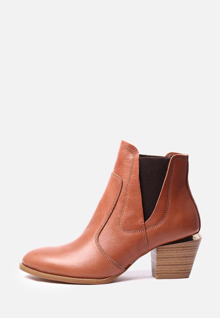 VM-Villomi Женские рыжие ботинки на среднем каблуке
