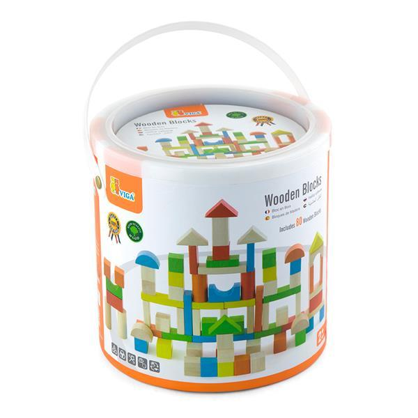 Деревянные кубики Viga Toys Цветные блоки, 80 шт., 2,5 см (50333)