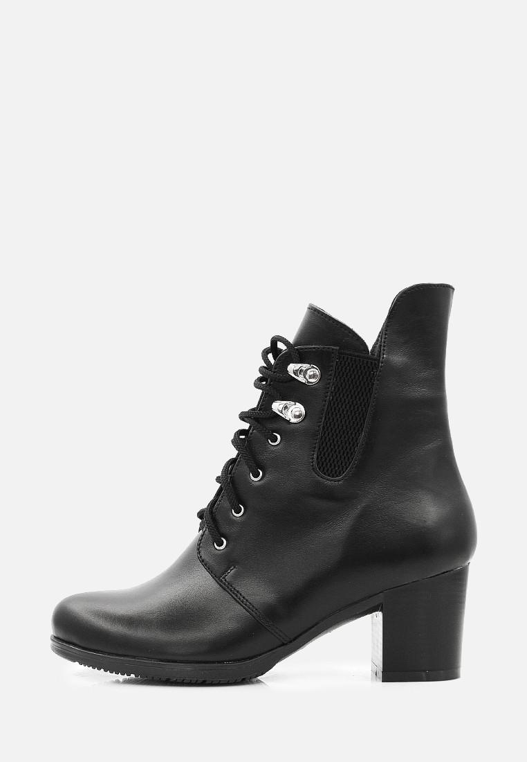 VM-Villomi Классические черные кожаные женские ботинки на каблуке