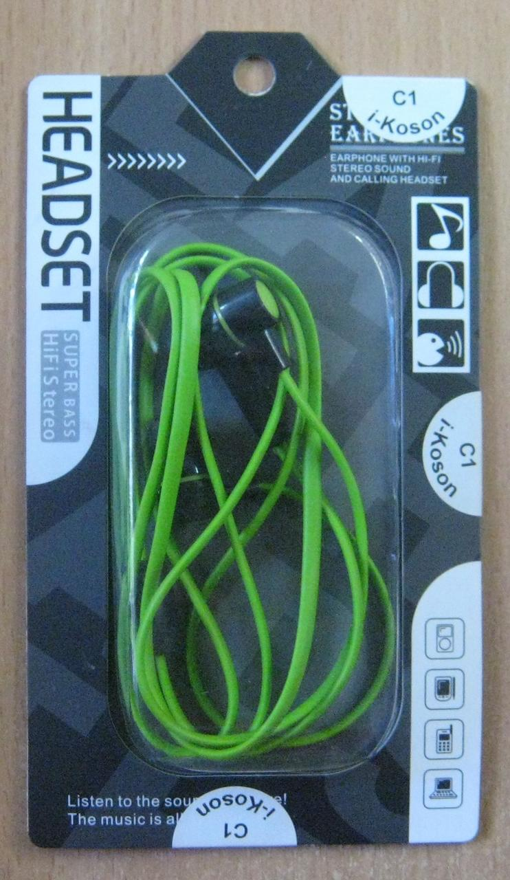 Навушники вакуумні I-Koson C1 (зелені)