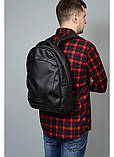 Мужской черный рюкзак из матовой эко-кожи деловой, классический, повседневный, для ноутбука, фото 3