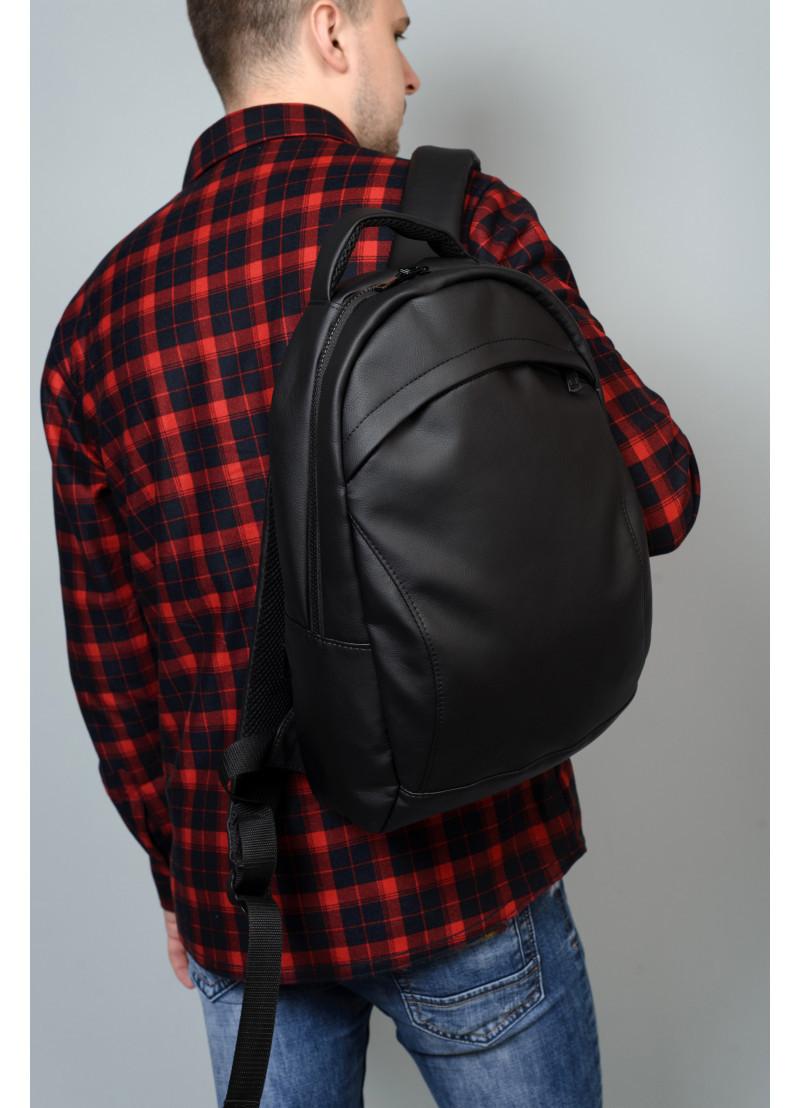 Мужской черный рюкзак из матовой эко-кожи деловой, классический, повседневный, для ноутбука