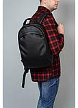 Мужской черный рюкзак из матовой эко-кожи деловой, классический, повседневный, для ноутбука, фото 2