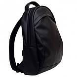Мужской черный рюкзак из матовой эко-кожи деловой, классический, повседневный, для ноутбука, фото 8
