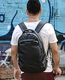 Мужской черный рюкзак из матовой эко-кожи деловой, классический, повседневный, для ноутбука, фото 4