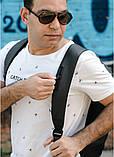 Мужской черный рюкзак из матовой эко-кожи деловой, классический, повседневный, для ноутбука, фото 7