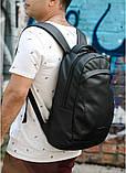 Мужской черный рюкзак из матовой эко-кожи деловой, классический, повседневный, для ноутбука, фото 5