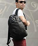 Мужской черный рюкзак из матовой эко-кожи деловой, классический, повседневный, для ноутбука, фото 6
