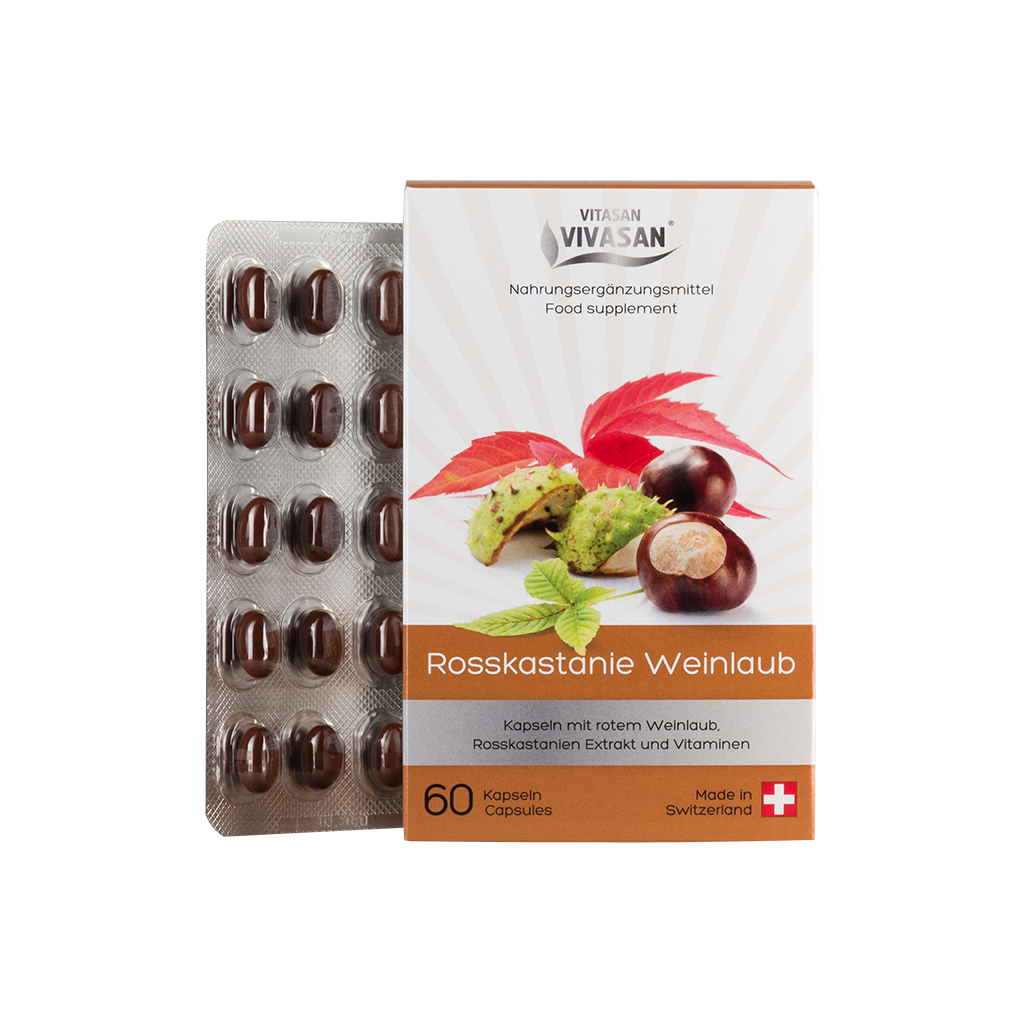 Кінський каштан і листя червоного винограду, екстракт в капсулах (для вен) Швейцарія
