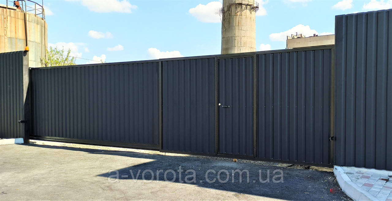 Відкатні ворота профнастил промислові 5000×2200мм