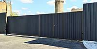 Відкатні ворота профнастил промислові 5000×2200мм, фото 1
