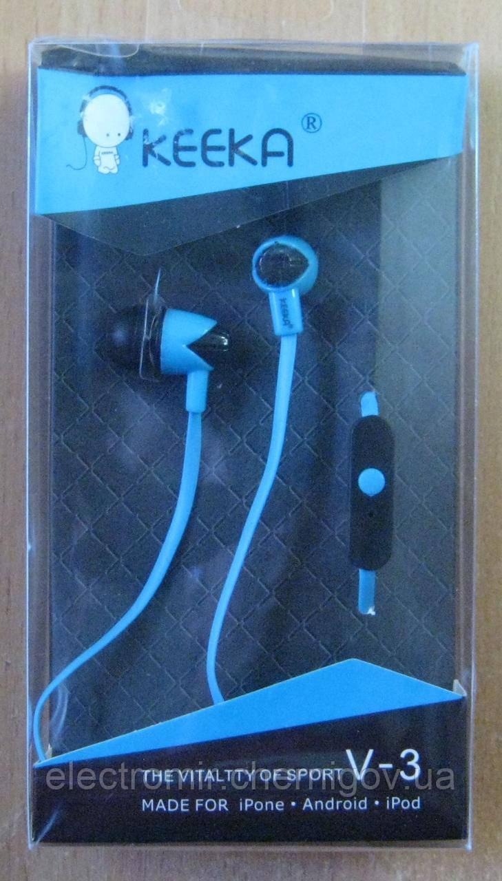 Навушники вакуумні Keeka V-3 (блакитні)