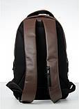 Мужской коричневый рюкзак классический, офисный, деловой, для ноутбука матовая экокожа, фото 3