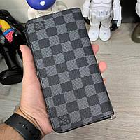 Мужской кожаный кошелек портмоне клатч Louis Vuitton LV, чоловічий шкіряний гаманець Луи Витон ЛВ