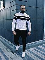 Комплект мужской кофта Линия белая и брюки Оллблэк черные
