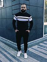Комплект мужской кофта Линия и брюки Оллблэк черный