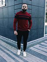 Комплект мужской кофта Линия бордо и брюки Оллблэк черные