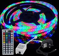 Лента светодиодная RGB 3528 5 метров + контроллер + пульт 44 кнопки+БП