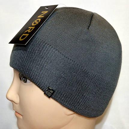 Мужская вязанная шапка 15046 серый, фото 2