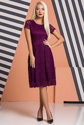 Сливовое гипюровое платье со складками, фото 2