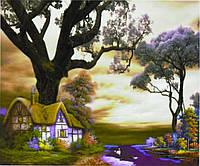 """Картина по номерам """"Домик в волшебн.лесу"""" 40*50см,крас.-акрил,кисть-3ш"""