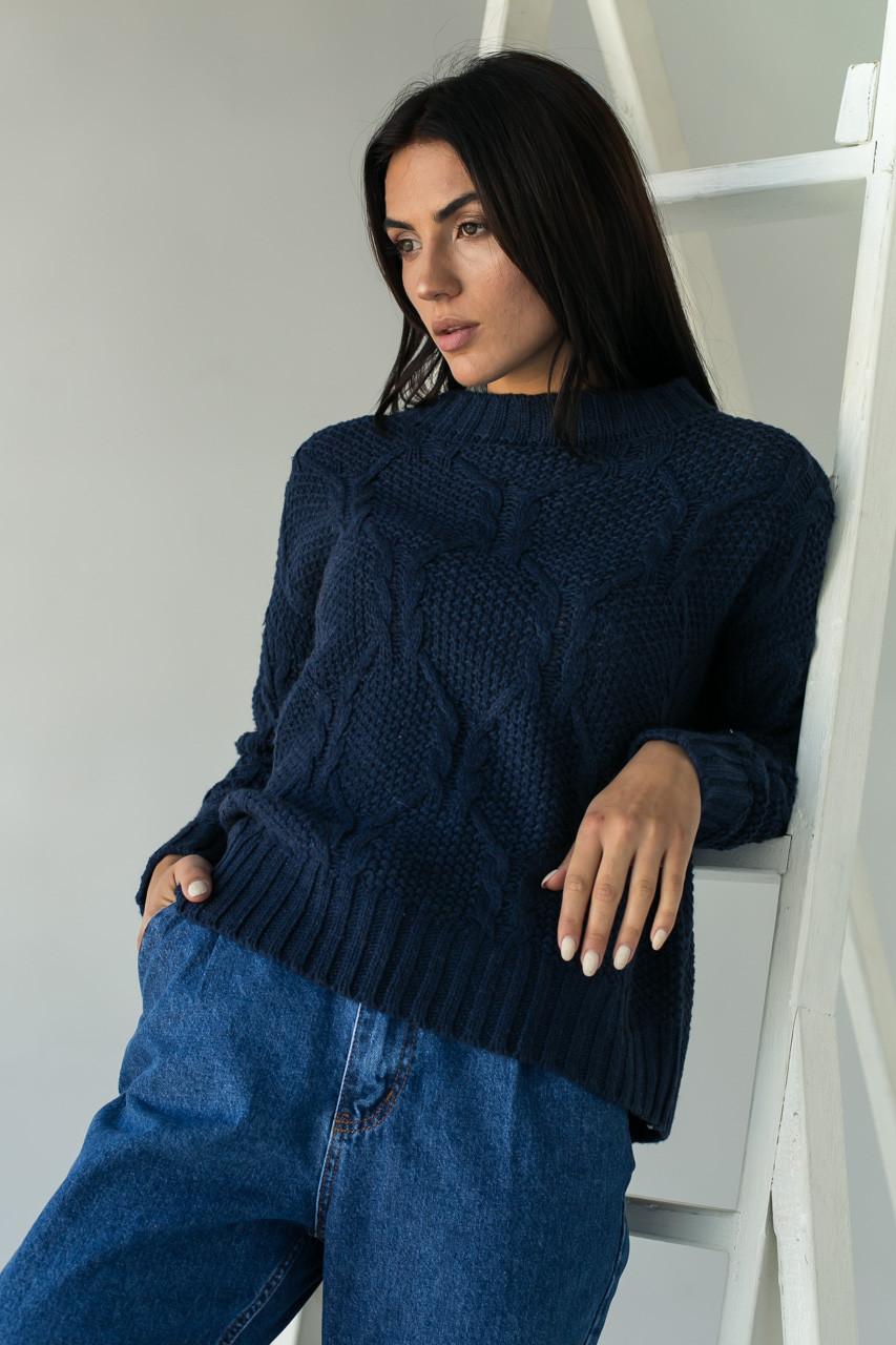 Джемпер ажурной толстой вязки с красивым узором LUREX - темно-синий цвет, L (есть размеры)