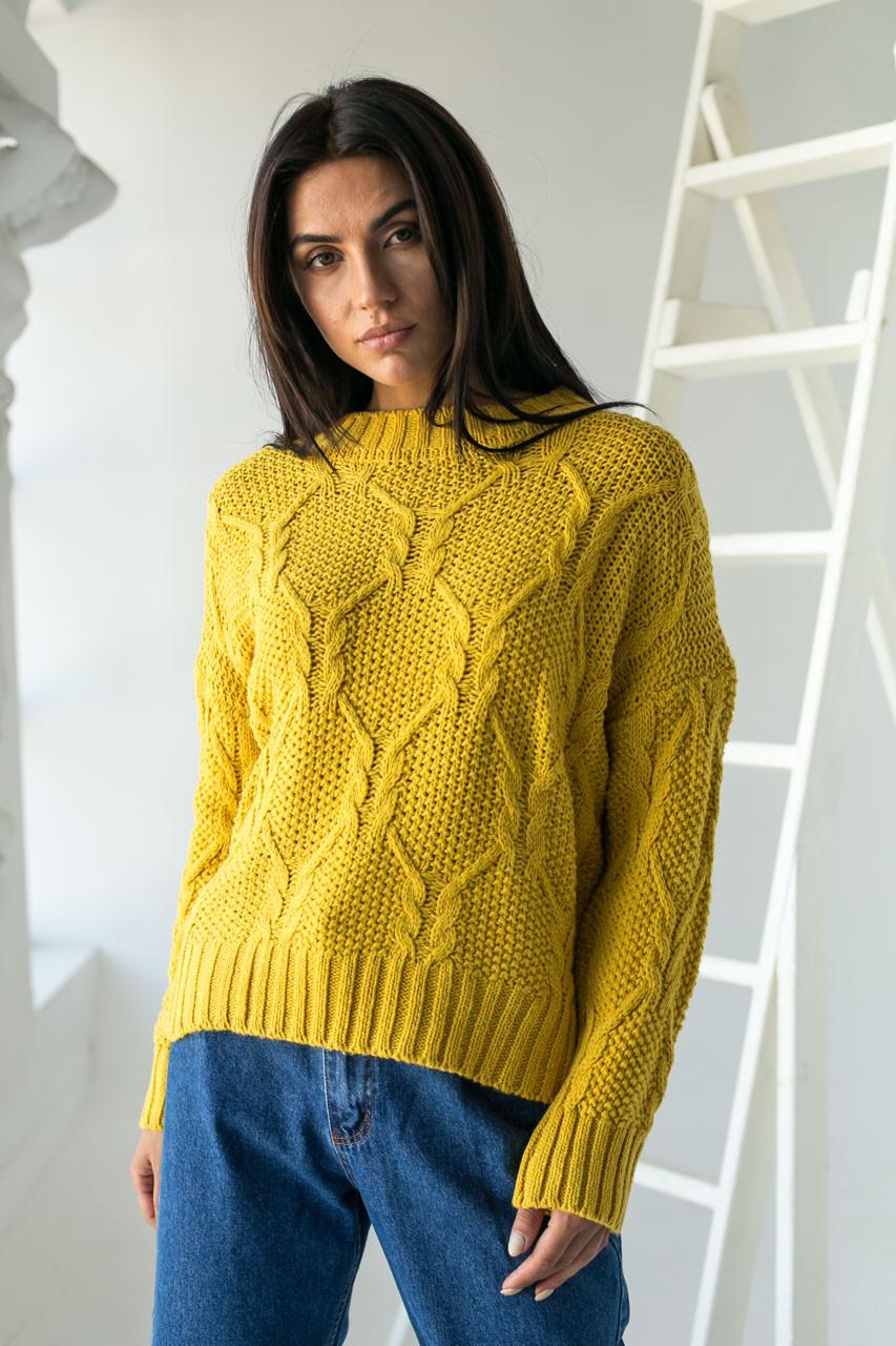 Джемпер ажурной толстой вязки с красивым узором LUREX - горчичный цвет, L (есть размеры)