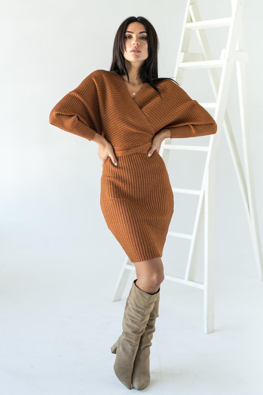 Платье облегающее с глубоким V-образным вырезом и спущенными плечами Jean Louis Francois - св-коричн цвет, M/L