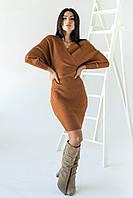 Платье облегающее с глубоким V-образным вырезом и спущенными плечами Jean Louis Francois - св-коричн цвет, M/L, фото 1