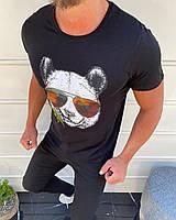 """Турецкая мужская летняя футболка """"Панда в очках"""" черная"""