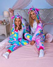 Модная пижама Кигуруми Единорог Искорка   Для взрослых и детей Розово - голубого цвета