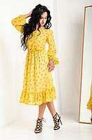 Яркое желтое платья полуприлегающего силуэта из шифона, фото 1