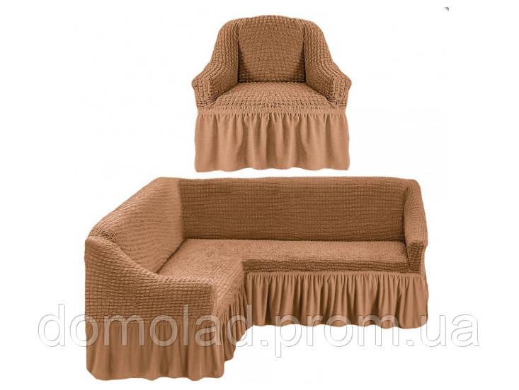 Чехлы на Угловой Диван и Кресло с Оборкой Универсальный Размер Набор 230